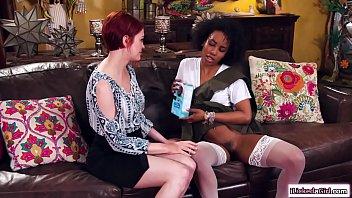 Ebony lesbian sits on redhead gfs faces