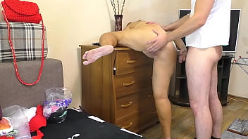 Mom lifted her leg so that it was more convenient for her son to fuck her in anal
