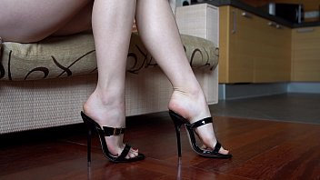 Teen Girl Shows Her Feet In Super High Heels