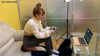 Gamer Girl Kira in Grey Leggings Uses Her Chair Slave While Playing During Fullweight Facesitting (Preview)