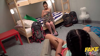 Fake Hostel Lucky Guy gets to fuck two lesbian girlfriends hard