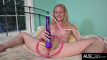 Small Tits Blonde Spreads Her Lips for High Powered Vibrator