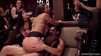 Asian and brunette anal orgy party