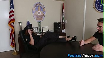 Policewomans feet cumshot