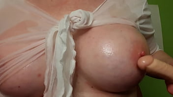 Big Tits Oiled And Dildo Fuck And Long Nipples Play