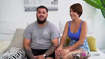 Horny couple (watch those AMAZING BOOBS) on their porn debut for FAKings