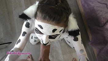 Beautiful Girl In Dalmatian Costume Playfully Rides Cavalier's Big Dick