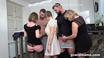 (Nipples Sucking Videos) ⁃ first ever granny orgy! cock fest! thumbnail