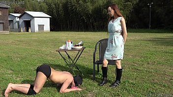 Japanese mistress Risa walking her slave pet in the outdoor