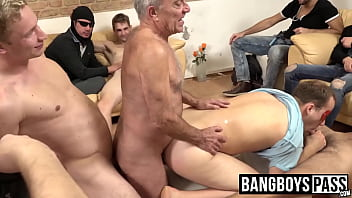 Mature dude gets filled while an orgy plays out around him thumbnail