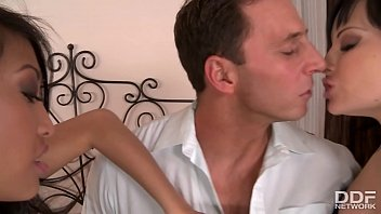 Awesome threesome shows stud fill Abbie Cat & Sharon Lee's Milf assholes
