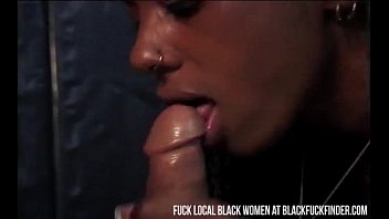 Sexy long haired black girl sucks a big white dick