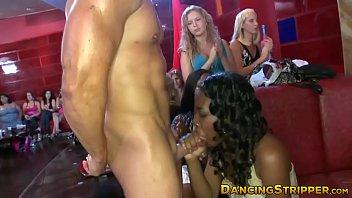 Glamorous babes dicksucking at wild stripper party