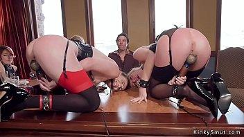 Babes ride Sybian and rough bang orgy