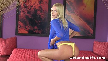 Foxy blonde teen in a passionate solo scene 10 min