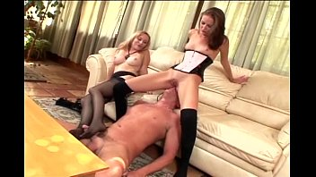 Nylon footjob milf - Blondes facesitting and kinky footjob in stockings