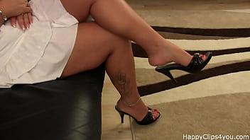 Mature erotic clips - Sabrina slipper dangling foot fetish video
