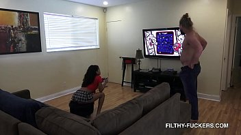 Gamer Step-Sister Maya Farrell Plays Vids While Sucking And