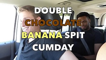 Gay man on top penetration Double chocolate banana spit cumday