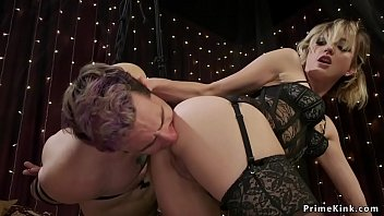 Hot blonde domme riding her slaves dick
