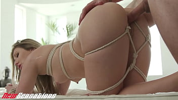 New Sensations - Petite Tiny Tit Paige Owens BDSM Tied Up Gets Covered In Cum