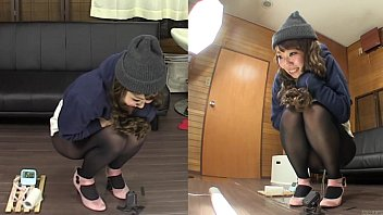 Subtitled amateur Japanese pee desperation failure in HD