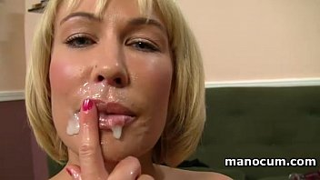 Milf hand job facial - Big boobed milf giving tugjob in pov and taking a jizz shot