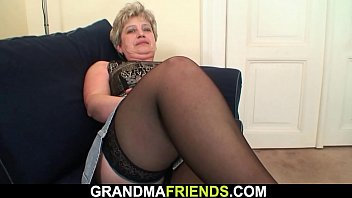 Horny granma warms up her old pussy before threesome