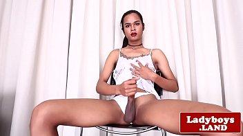 Inked ladyboy tugging her big hard cock