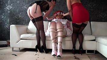 Femdom shemale maids Dizzy miss sizzy in perverted urine show