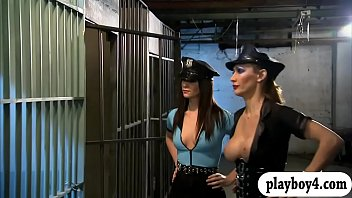 Saucy bitches enjoying foursome session in the jailcell