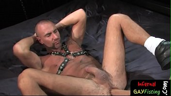 Gay raunchy Lubed up bdsm gay wrenches forearm in deep