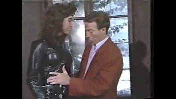 Vintage cuir leather jacket Sexy brunette in leather sucks and gets stuffed video