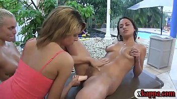 Sexy college pledges hosed down and dyke out outdoors