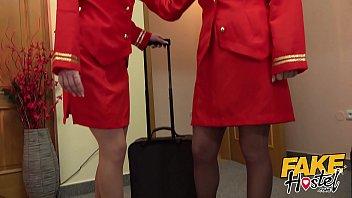Fake Hostel Flight Attendants in pantyhose surprise young guest 13 min