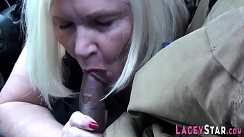 Eaten out brit granny sucks black cock