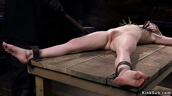 Blonde slave paddled and vibed