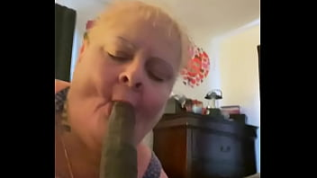 Trailer granny gumjob deepthroat 9 inch BBC facial only gags once on 9 inch cock  no teeth