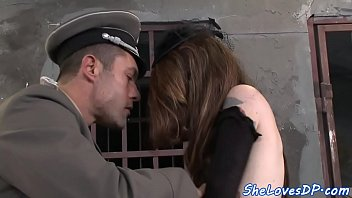 Tied to a cross sex Innocent babe double penetrated by soldiers
