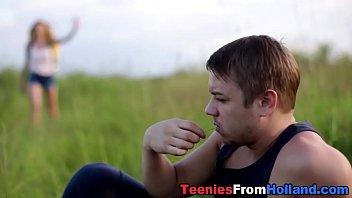 Dutch teen fucks outside