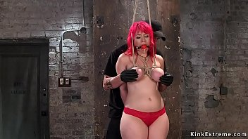 Chubby redhead anal toyed in hogtie