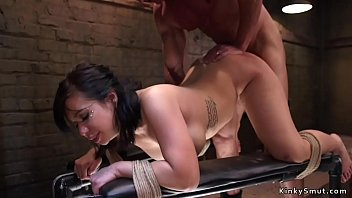Busty Asian slave has anal training