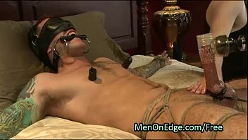Bound muscle gay cock jacked and sucked
