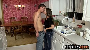 Chrissy Facialed by BF in Kitchen Handjob 13 min