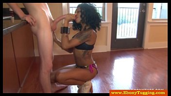 Tattooed ebony black skank pov wanks
