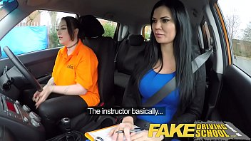 Fake Driving School Busty lesbian ex-con eats hot examiners pussy on test 14 min