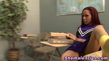 Shemale pom pom - Tgirl cheerleader creamed