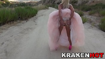 Submissive blonde in an amateur BDSM video outdoor