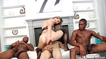Blonde slut anal gangbanged by hung black guys's Thumb
