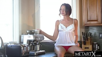 Gorgeous brunette can't wait to masturbate on the kitchen counter